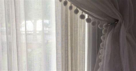 muslin curtain  pom pom edge pom poms  ball