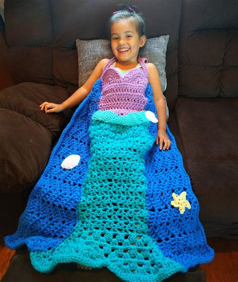 mermaid crochet pattern princess dress blanket mermaid