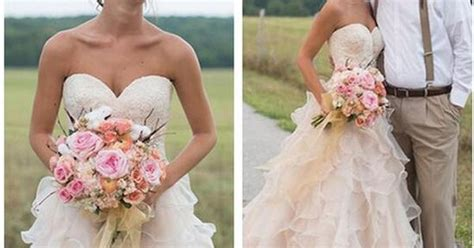 2017 Blush Pink Country Style Ruffles Wedding Dresses Lace