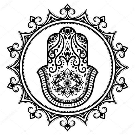 Kleurplaat Hamsa by Hamsa Gezeichnete Symbol Im Mandala Mehndi Stil