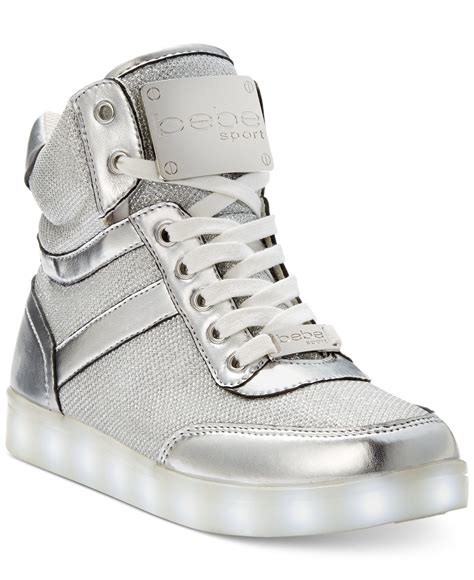 high top light up shoes bebe sport krysten high top light up sneakers in silver lyst