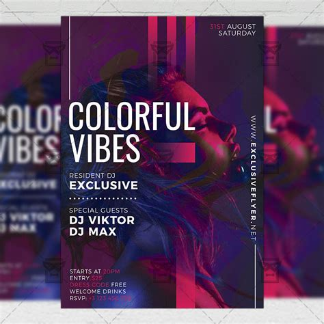 Colorful Flyer Psd Template Free Download by Colorful Vibes Flyer Club A5 Template Exclsiveflyer