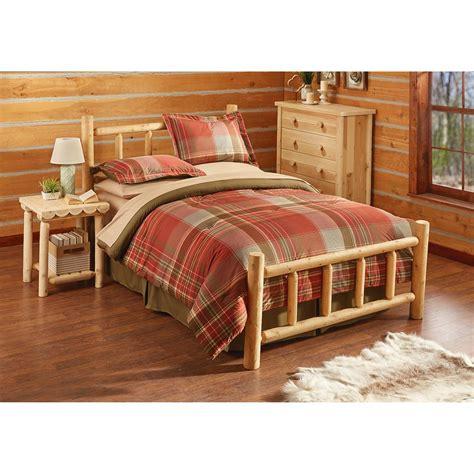 log bedroom sets castlecreek cedar log bed 235869 bedroom sets at