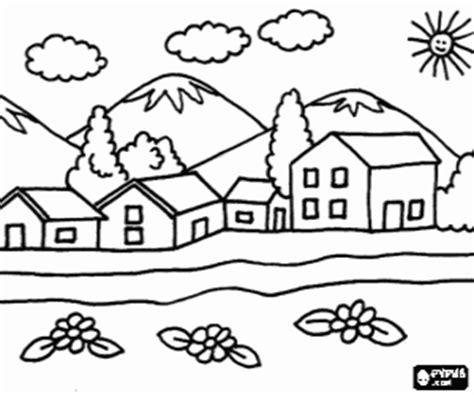 Pequeño pueblo cerca de las montañas para colorear pintar