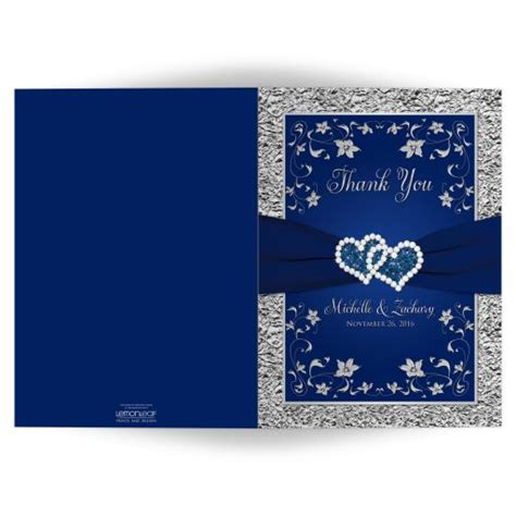 wedding photo   card  navy blue silver