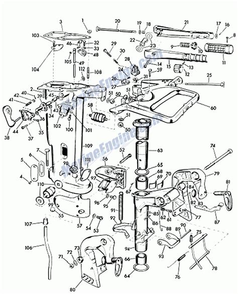 evinrude exhaust tube and swivel bracket parts for 1957 7