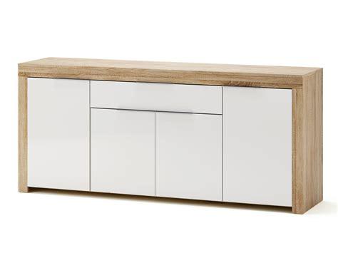 objet de bureau buffet bas 4 portes 1 tiroir blanc et bois l177 2 cm naxis