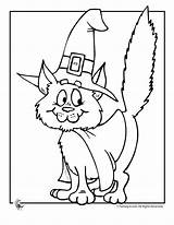 Coloring Cat Halloween Pages Witch Cute Colouring Scary Printable Fantasy Witches Cartoon Jr Easy Preschool Sheets Books Printables Cats Kittens sketch template