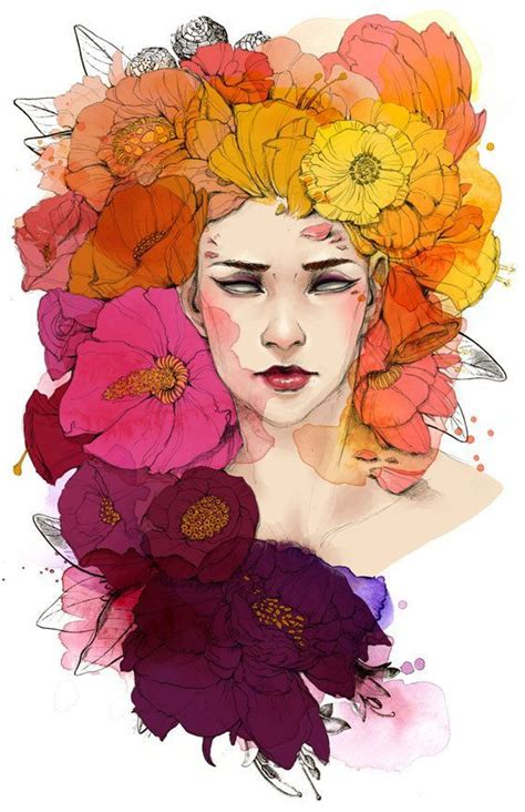 fashion illustrator flower media art print full color