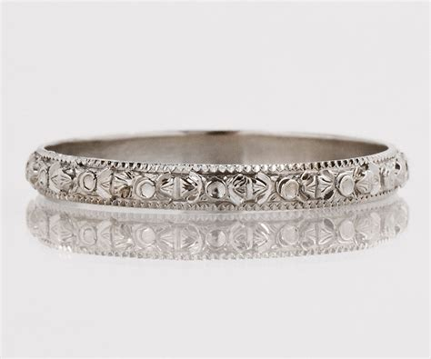 antique wedding band antique 18k white gold etched wedding