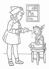 Medicine Coloring Nurse Cat Gives Netart sketch template