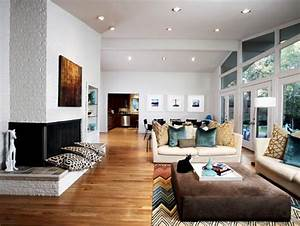 Midcentury, Modern, Living, Room, And, Dining, Room, Combo, With, High, Ceiling