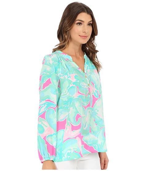 lilly pulitzer blouse lilly pulitzer elsa top in blue lyst