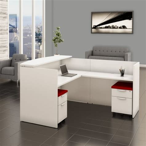 » White Reception Desk with Filing System
