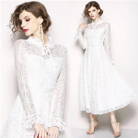 2019 Women White Lace Hollow Out Empire Long Dress Vintage