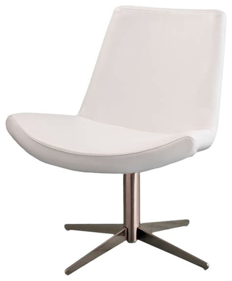 modo modern design white leather swivel accent chair