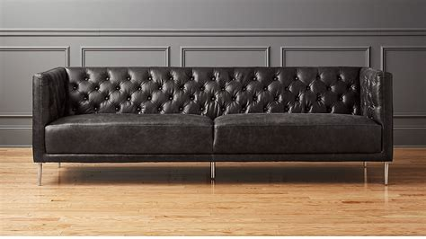 loveseat leather sofa savile black leather tufted sofa reviews cb2
