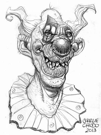 Drawing Clown Killer Drawings Clowns Evil Coloring