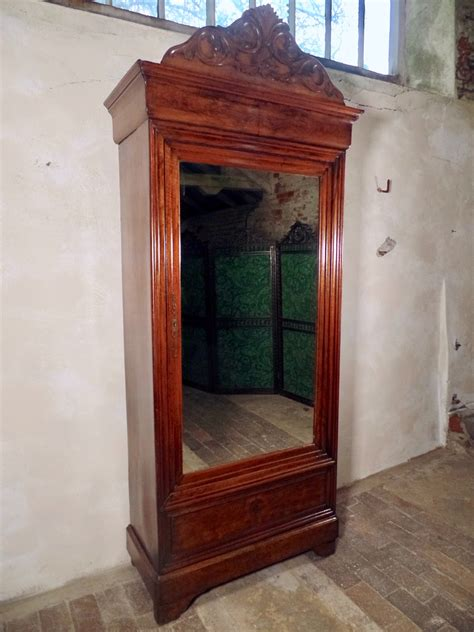Antique Armoire With Drawers antique walnut armoire mirror fronted shelves
