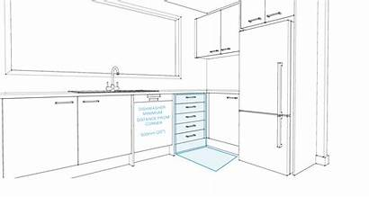 Kitchen Corner Essential Distance Dishwasher Drawing Rules