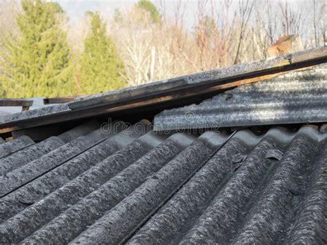 asbestos roof eternit stock photo image  aged house
