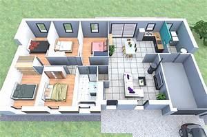 plan de maison plain pied 5 chambres With delightful logiciel plan maison 3d 7 plan maison tunisie 150m2