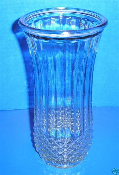 Vintage Diamond Point Ribbed Flared Clear Hoosier Glass