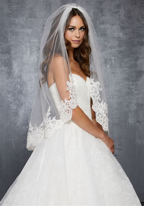 Veil With Lace Beaded With Sequins And Rhinestones