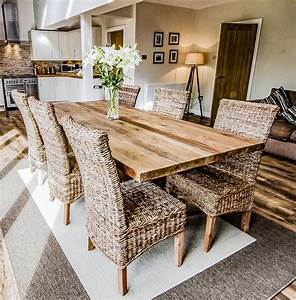 Unique, Solid, Reclaimed, Wooden, Dining, Table, With, Solid, Legs