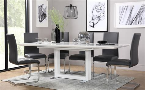 tokyo white high gloss extending dining table   chairs set perth grey