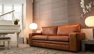 Tan leather sofas for every living space styles in 2018 for Tan leather sofa bed