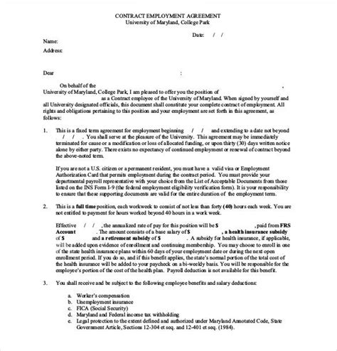 employee agreement templates word  apple pages