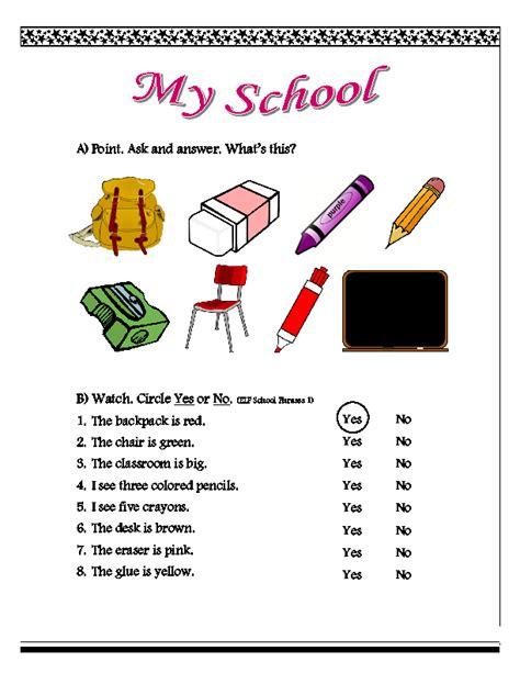 worksheet school phrases 1
