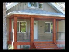 Wood Stained Front Porch Railing