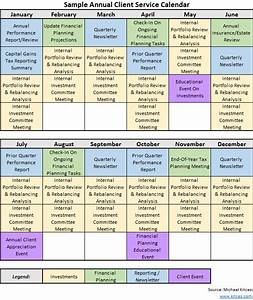 Crafting an annual financial planning service calendar for Client service plan template
