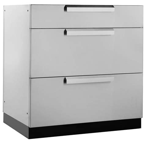 metal drawers for kitchen cabinets newage products stainless steel classic 32 in 3 drawer 9146