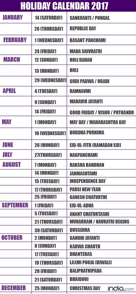 Holiday Calendar List Calendar