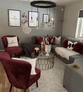 Maroon, Grey, And, White, Living, Room, Cozylivingroomfurniturefrenchdoors