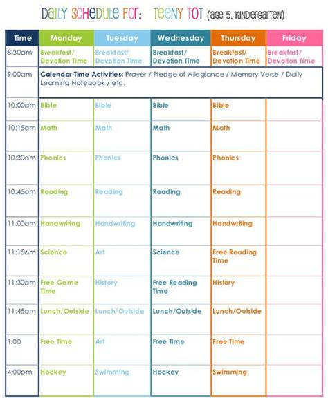 homeschool schedule templates word docs