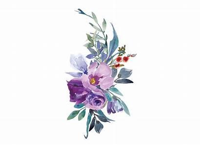 Magnolia Purple Clipart Watercolor Flowers Rose Arrangements