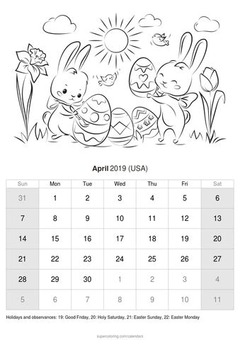 april  calendar usa
