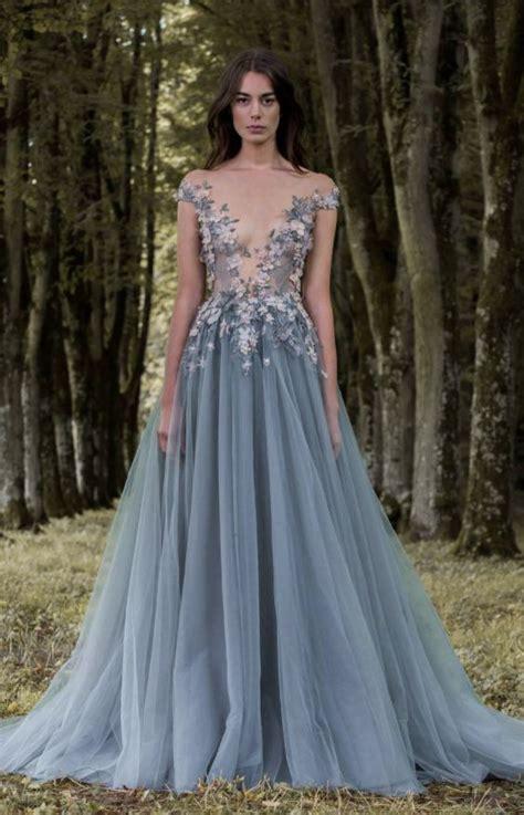 Unique Blue Off The Shoulder Floral Applique Tulle Wedding