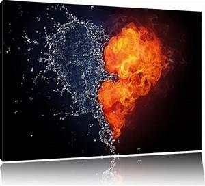 Dreiteilige Bilder Auf Leinwand : dark herz aus feuer und wasser bild auf leinwand xxl riesige bilder fertig gerahmt mit ~ Orissabook.com Haus und Dekorationen