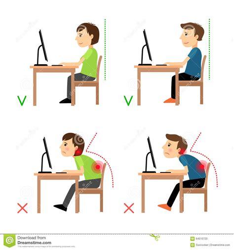 bonne posture au bureau incorrect and correct back sitting position stock vector