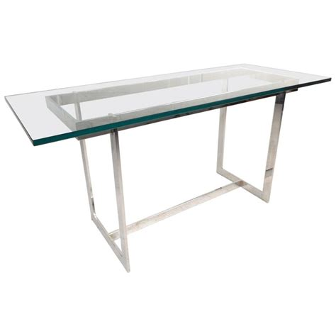 glass and chrome sofa table mid century modern glass and chrome console table in the