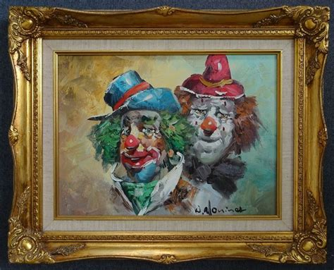 Art Oil Painting W William Moninet Clowns 21x17 Original