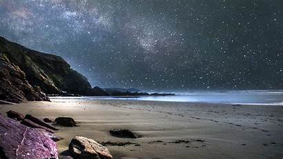 Sky Night Beach Stars Dark Awesome Moon