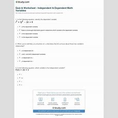 Quiz & Worksheet  Independent & Dependent Math Variables Studycom
