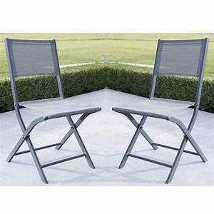 Chaise De Jardin Grise : lot de 2 chaises de jardin pliantes modulo grise comparer les prix de lot de 2 chaises de jardin ~ Teatrodelosmanantiales.com Idées de Décoration