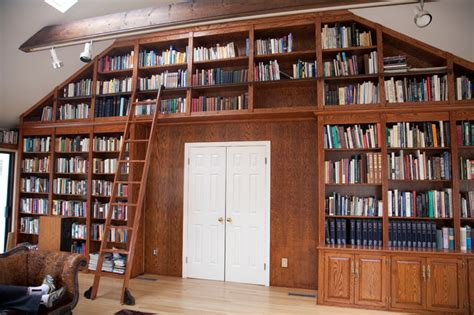 Rolling Library Ladder  Traditional  Home Office  By. Square Pools. Benjamin Moore Affinity. Narrow Entry Table. Fireplace Mantels. Potting Shed. Open Shower Stall. Plum Walls. Gray Herringbone Tile